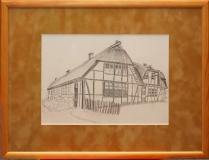 """Bauernhaus mit Reetdach """"Rahmen 40 cm x 30 cm"""