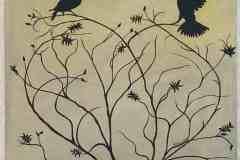"""Vögel auf Herz """"40 cm x 40 cm"""""""